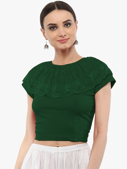 SALWAR STUDIO Women Green Saree blouse