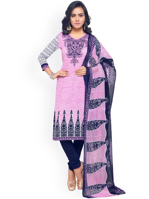 Satrani Pink & Blue Poly Crepe Unstitched Dress Material