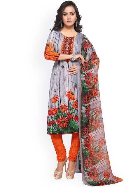 Satrani Grey & Orange Poly Crepe Unstitched Dress Material