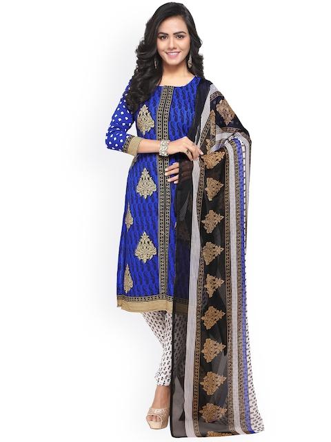 Satrani Blue & White Poly Crepe Unstitched Dress Material