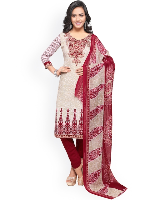 Satrani Off-White & Maroon Poly Crepe Unstitched Dress Material