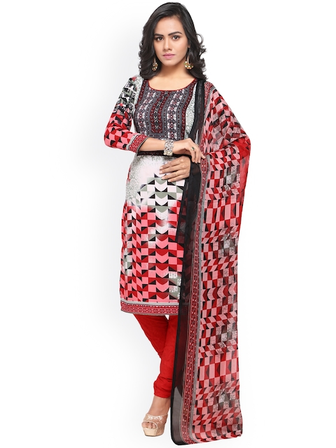 Satrani Red & White Poly Crepe Unstitched Dress Material