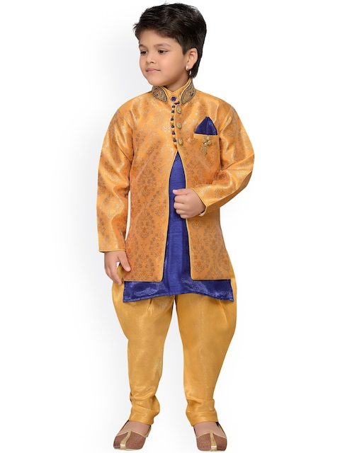 AJ Dezines Gold-Toned Baby Boys Indo Western Sherwani Set