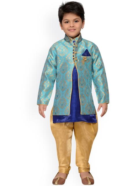 AJ Dezines Turquoise Blue Baby Boys Indo Western Sherwani Set