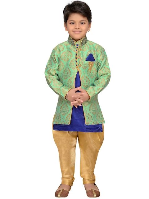 AJ Dezines Green Baby Boys Indo Western Sherwani Set