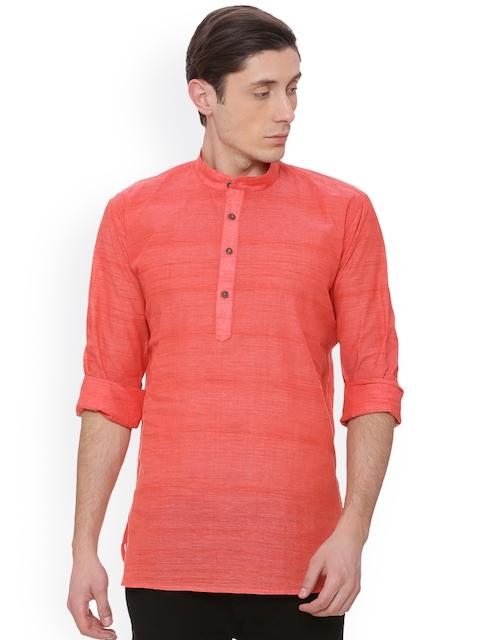 TATTVA Men Peach-Coloured Solid Straight Kurta