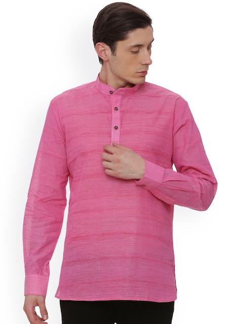 TATTVA Men Pink Solid Straight Kurta
