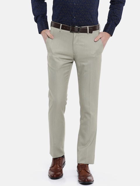 V Dot Men Beige Skinny Fit Solid Formal Trousers