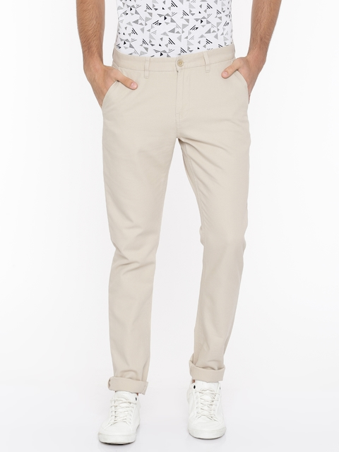 Van Heusen Sport Men Beige Slim Fit Solid Regular Trousers