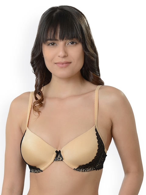 Da Intimo Beige Solid Underwired Lightly Padded Everyday Bra DI980