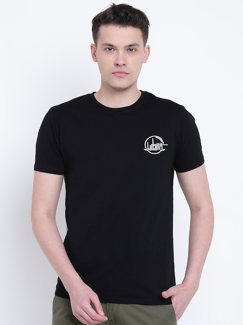 Blackberrys Men Black Solid Round Neck T-shirt