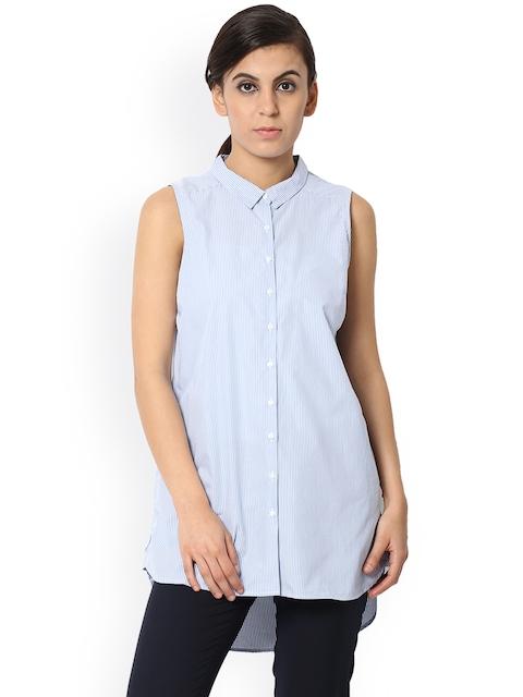 Van Heusen Woman Women Blue Regular Fit Striped Casual Shirt