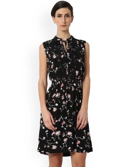 Van Heusen Woman Black Printed Fit and Flare Dress