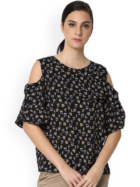 Van Heusen Woman Women Black PrintedCold-Shoulder Top
