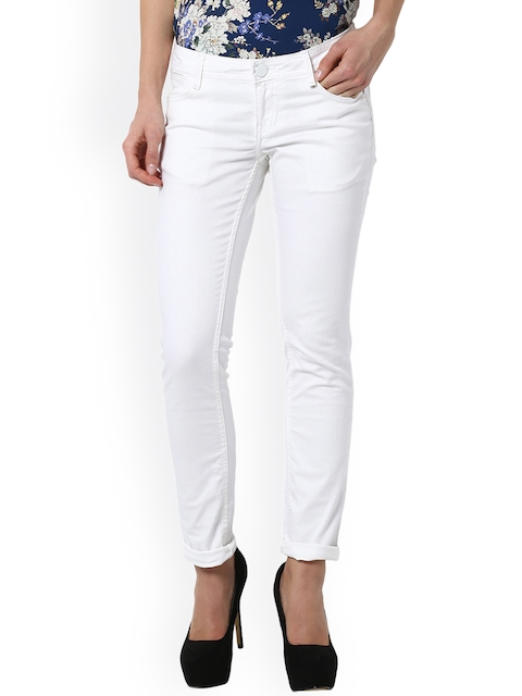Van Heusen Woman Women White Regular Fit Mid-Rise Clean Look Stretchable Jeans