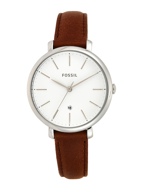 Fossil Women White & Silver-Toned Analogue Watch