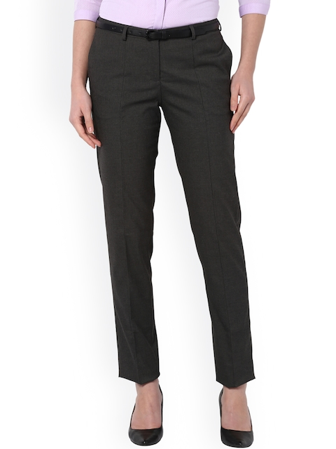 Van Heusen Woman Women Grey Slim Fit Solid Formal Trousers