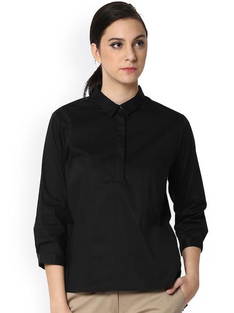 Van Heusen Woman Women Black Solid Shirt Style Top