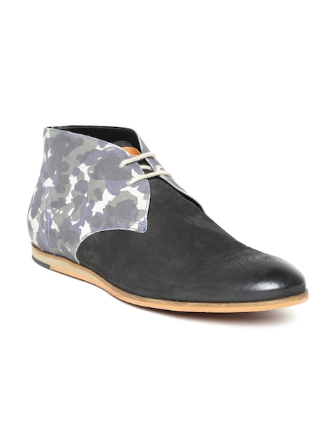 Ruosh Men Grey & Black Leather Flat Boots