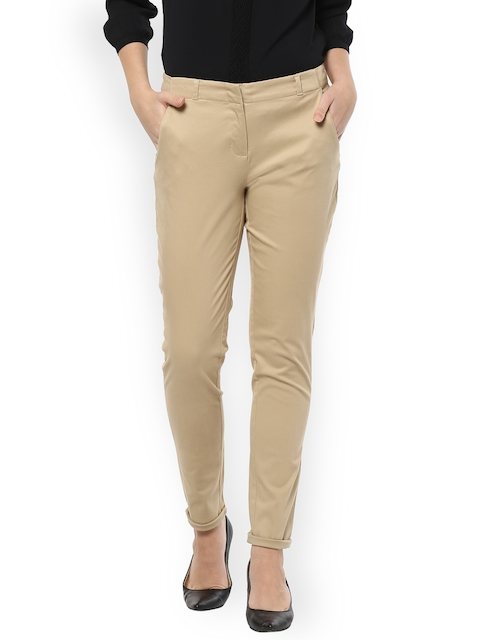 Allen Solly Woman Khaki Regular Fit Solid Formal Trousers