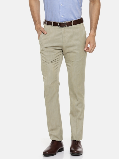 Van Heusen Men Beige Skinny Fit Self Design Formal Trousers