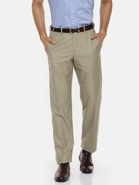 Van Heusen Men Beige Regular Fit Self Design Formal Trousers