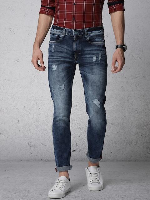 Ecko Unltd Men Blue Super Slim Fit Mid-Rise Mildly Distressed Stretchable Jeans