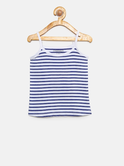Karigari Girls Off-White & Blue Striped Camisole