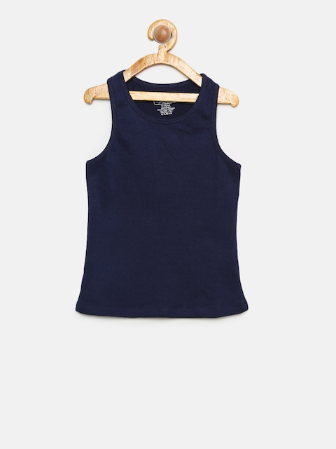 Cherokee Navy Blue Solid Camisoles For Girls