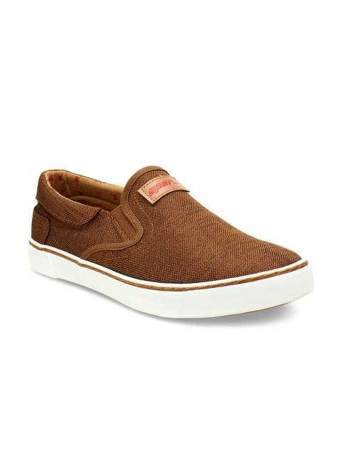 Sparx Men Tan Slip-On Sneakers