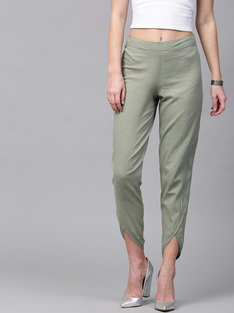 SASSAFRAS Olive Green Dhoti Pants