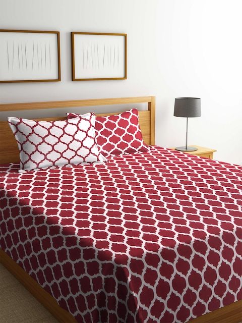 Romee Red & White Printed Polycotton Reversible Double Bed Cover with 2 Pillow Covers
