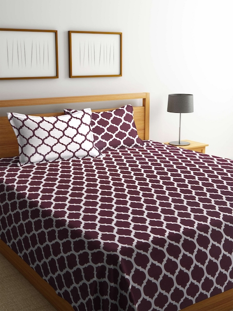 Romee Maroon & White Printed Polycotton Reversible Double Bed Cover with 2 Pillow Covers