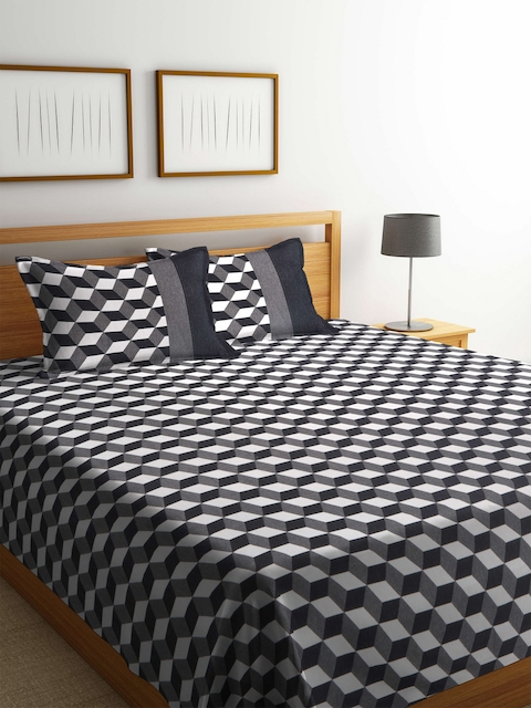 Romee Black & White Printed Polycotton Reversible Double Bed Cover with 2 Pillow Covers