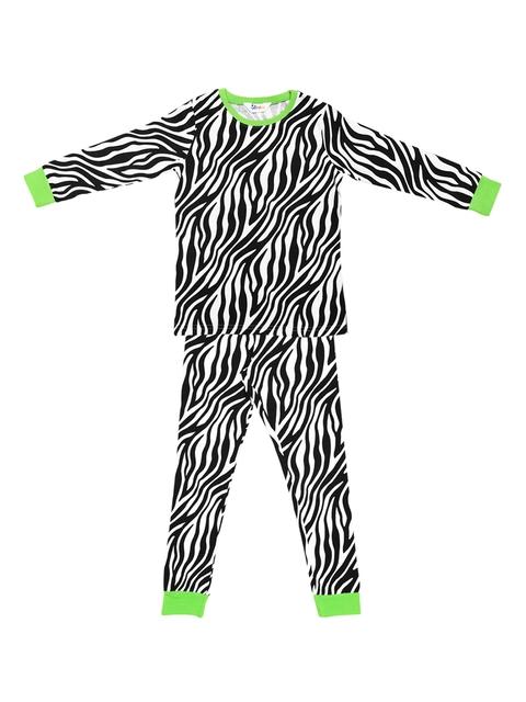 ventra Girls Black & White Printed Night Suit