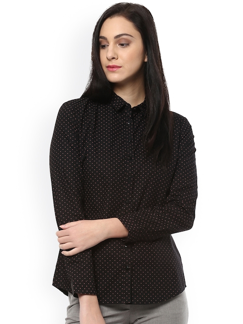 Allen Solly Woman Women Black Regular Fit Printed Casual Shirt