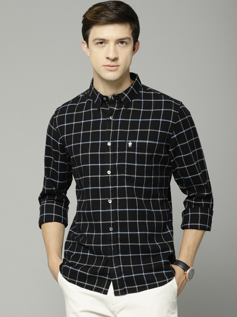 French Connection Men Black Slim Fit Checked Casual Shirt