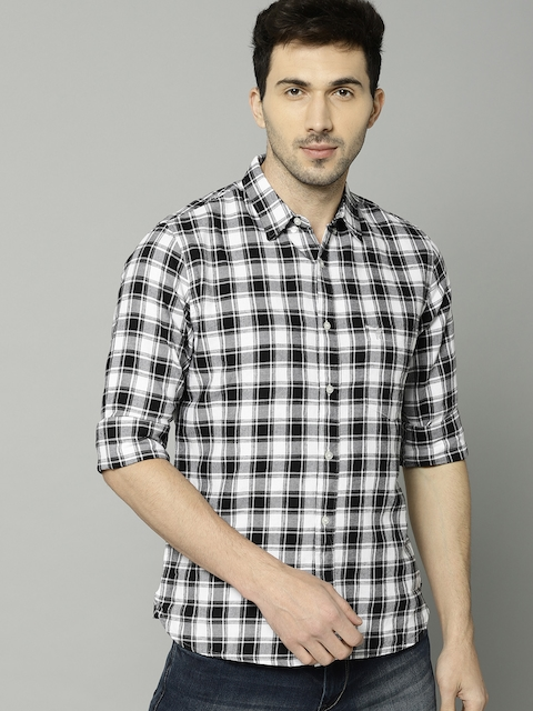 French Connection Men Black & White Slim Fit Checked Casual Shirt