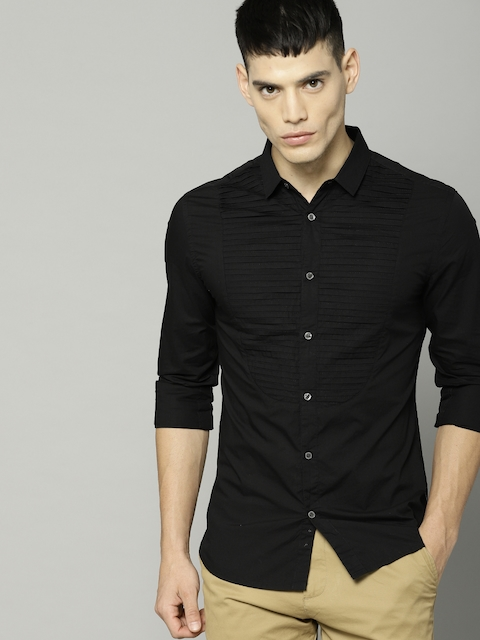 French Connection Men Black Slim Fit Solid Casual Shirt