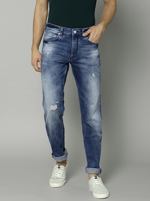 French Connection Men Blue Slim Fit Mid-Rise Mildly Distress Stretchable Jeans
