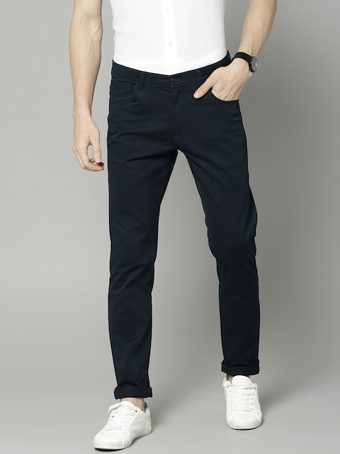 French Connection Men Navy Regular Fit Solid Chinos