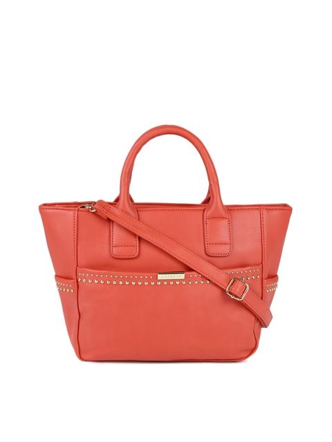 Caprese Coral Orange Solid Handheld Bag