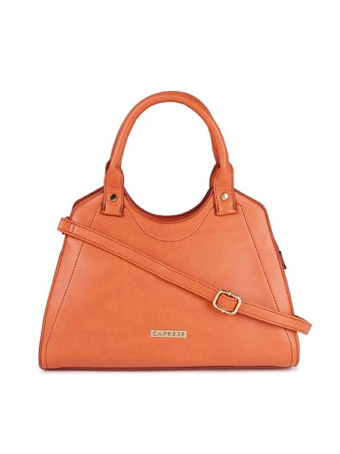 Caprese Peach-Coloured Solid Handheld Bag