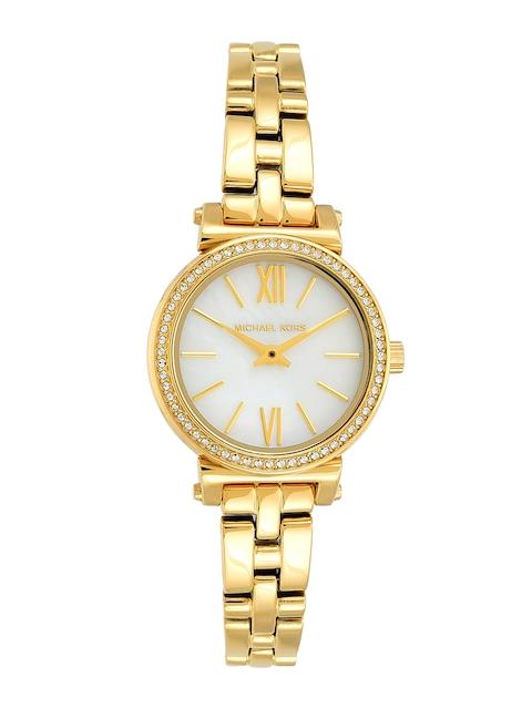 Michael Kors Women Cream-Coloured & Gold-Toned Analogue Watch