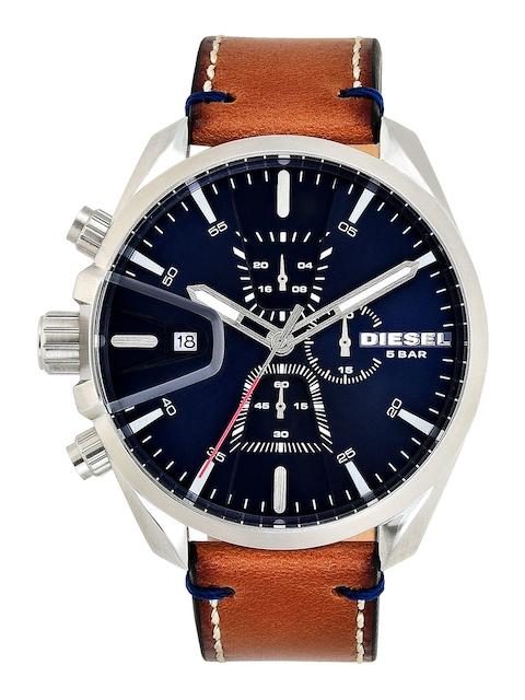 DIESEL Men Blue & Tan Chronograph Watch DZ4470I