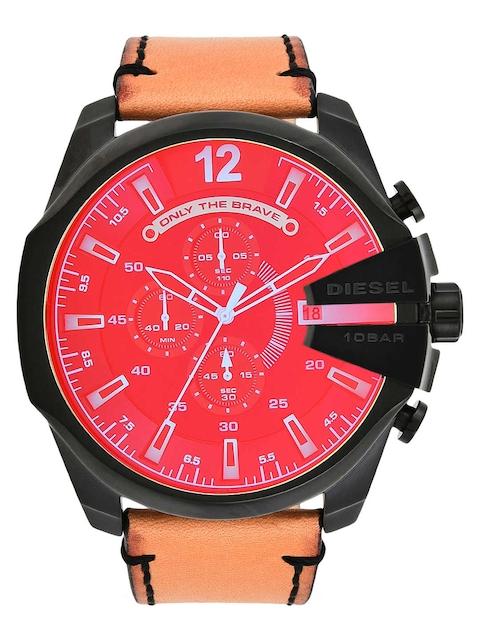 DIESEL Men Red & Tan Chronograph Watch