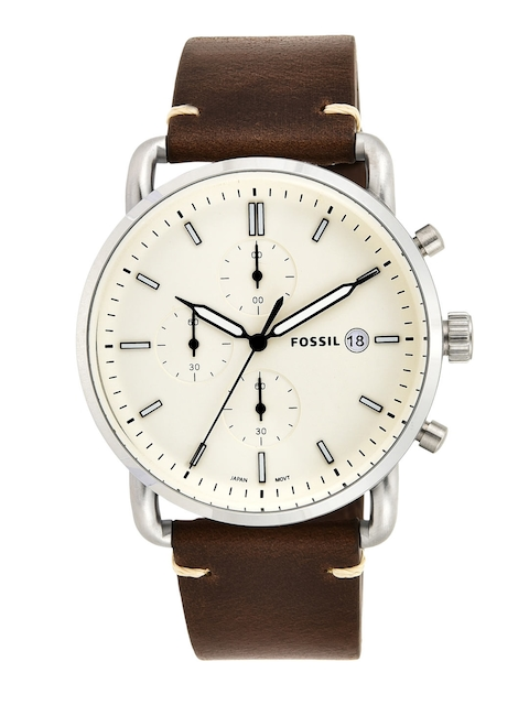 Fossil Men Cream-Coloured & Silver-Toned Analogue Watch FS5402I