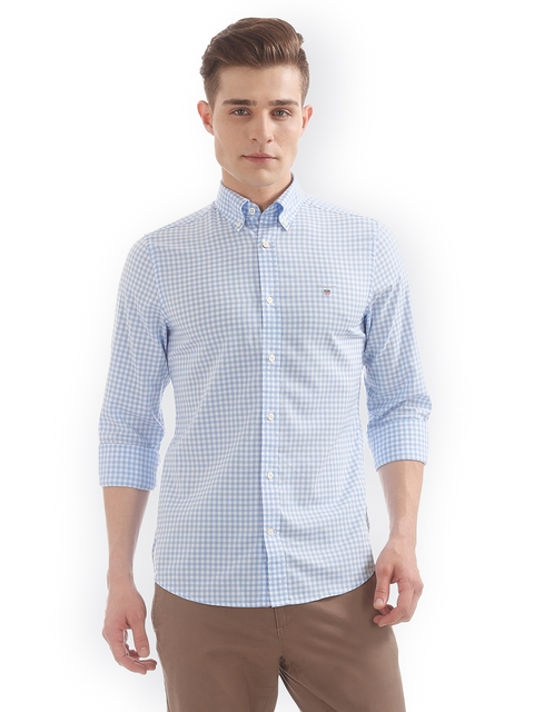 GANT Men Blue & White Slim Fit Checked Casual Shirt