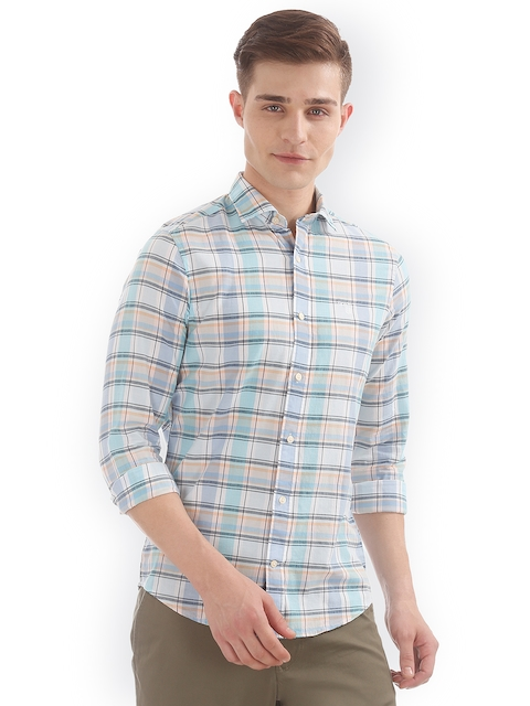 GANT Men Blue Slim Fit Checked Casual Shirt