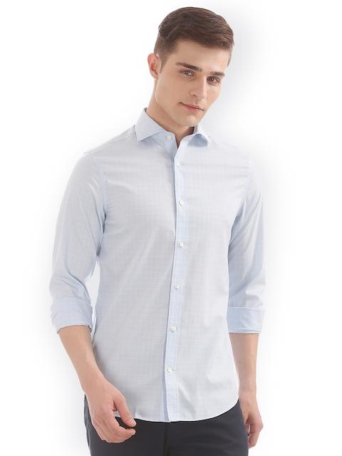 GANT Men Blue Slim Fit Checked Casual Shirt